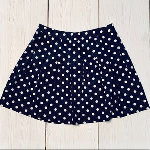 J Crew Blue & White Polka Dot Skirt Size 4